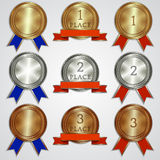 Vector set of metallic badges with ribbons  for. Vector set of metal badges with ribbons for the first, second, third place Stock Images
