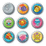 Vector set of metallic bottle caps. Summer vacation. Vector set of metallic bottle caps, summer drawings on lids. Cartoon turtle, sea shell,  coral reef fish Stock Photos