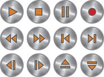 Vector set of metallic multimedia buttons Stock Image