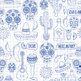 Vector set of Mexicon doodle icons Hello. Love. How are you. Food. Drinks. Royalty Free Stock Images