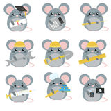 Vector set of mice various professions Stock Photos