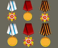 Vector set of military medals Stock Photography