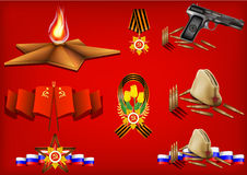 Vector set of military objects. Related to 23 February and Victory Day Stock Images