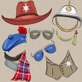 Vector set of military and sheriff accessories Stock Photography