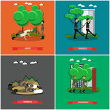 Vector set of military square posters in flat style Royalty Free Stock Images