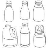 Vector set of milk bottle. Hand drawn cartoon, doodle illustration Stock Photo