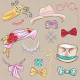 Vector set millinery and accessories Royalty Free Stock Photos