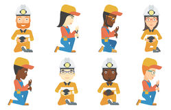 Vector set of miner and plumber characters. Royalty Free Stock Photos