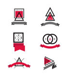 Vector set of Minimal Geometric Modern Insignias and Logotypes. Royalty Free Stock Photos