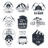 Vector set of mining labels in vintage style. Gold miners club Stock Photo