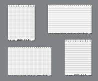 Vector Set mit gezeichnetem und Zeichenpapier mit Maßeinteilung lizenzfreie stockfotografie