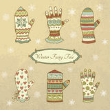 Vector set with mittens and gloves Royalty Free Stock Photo