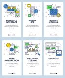 Vector line art web and mobile app template set stock illustration