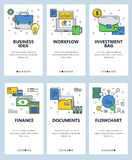 Vector line art web and mobile app template set. Vector set of mobile app onboarding screens. Business idea, Workflow, Investment bag, Finance, Documents Royalty Free Stock Image
