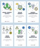 Vector line art web and mobile app template set. Vector set of mobile app onboarding screens. Green energy source, Solar energy, Energy consumption, Wind turbine Royalty Free Stock Photography