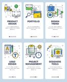 Vector line art web and mobile app template set Stock Images
