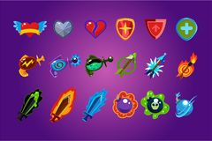 Vector set of mobile game assets. Hearts, defense shields, bottles with poisons magic elixirs, arrows, swords and bombs. Collection of colorful mobile game Royalty Free Stock Photo