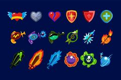 Vector set of mobile game assets. Hearts, defense shields, bottles with poisons magic elixirs, arrows, swords and bombs. Collection of colorful mobile game Royalty Free Stock Image