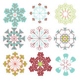 Vector Set of Mod Snowflakes Stock Photo