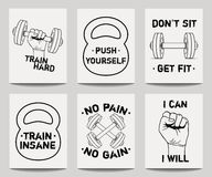 Vector set of modern fitness templates with hands, dumbbells, weight and motivational phrases Stock Photo