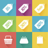 Vector set of modern flat sale icons. Shopping. Stock Photos