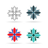 Vector set of modern geometric shapes or patterns. Logos  similar  on flowers for decoration Royalty Free Stock Photography
