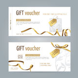 Vector set of modern gift vouchers with paper shopping bag, golden ribbons, small bow and tags. Layout for design gift card, coupon and certificate.  from the Stock Photography