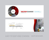 Vector set of modern horizontal website banners with circle roun. Vector set of modern horizontal website banners with red circle round diagram for IT, business Stock Images