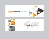 Vector set of modern horizontal website banners with circles, tr. Iangles, polygons for PR, business, tech, communication. Clean web headers design with overlay Stock Images