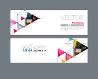 Vector set of modern horizontal website banners with circles, tr. Iangles, polygons for PR, business, tech, communication. Clean web headers design with overlay Stock Photos