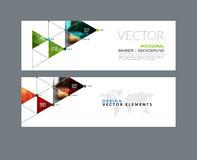 Vector set of modern horizontal website banners with circles, tr. Iangles, polygons for PR, business, tech, communication. Clean web headers design with overlay Royalty Free Stock Photography