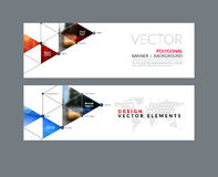 Vector set of modern horizontal website banners with circles, tr. Iangles, polygons for PR, business, tech, communication. Clean web headers design with overlay Stock Photography