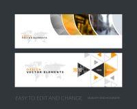Vector set of modern horizontal website banners with colourful g. Vector set of modern horizontal website banners with yellow geometric shapes for industry Stock Images