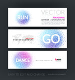 Vector set of modern horizontal website banners with dance and r