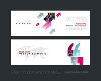 Vector set of modern horizontal website banners with diagonal po vector illustration