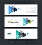 Vector set of modern horizontal website banners with flying tria. Ngles, arrows, polygons for engineering, business, consulting, internet, IT, computers Royalty Free Stock Images