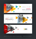 Vector set of modern horizontal website banners with flying tria. Ngles, arrows, polygons for engineering, business, consulting, internet, IT, computers Royalty Free Stock Photos