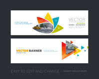 Vector set of modern horizontal website banners with geometric f. Lower shapes, polygons, triangles for science, natural organic idea. Clean web headers design Stock Photography