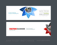 Vector set of modern horizontal website banners with geometric f. Lower shapes, polygons, triangles for science, natural organic idea. Clean web headers design Royalty Free Stock Photo