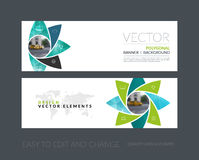 Vector set of modern horizontal website banners with geometric f. Lower shapes, polygons, triangles for science, natural organic idea. Clean web headers design Stock Photo