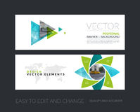 Vector set of modern horizontal website banners with geometric f. Lower shapes, polygons, triangles for science, natural organic idea. Clean web headers design Royalty Free Stock Image