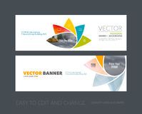 Vector set of modern horizontal website banners with geometric f. Lower shapes, polygons, triangles for science, natural organic idea. Clean web headers design Royalty Free Stock Images