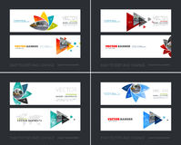 Vector set of modern horizontal website banners with geometric f. Lower shapes, polygons, triangles for science, natural organic idea. Clean web headers design Royalty Free Stock Photos