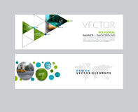 Vector set of modern horizontal website banners with rounds,  tr. Iangles, polygons for PR, business, tech, communication. Clean web headers design with overlay Stock Photography