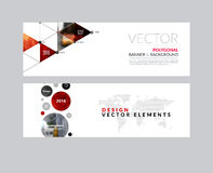 Vector set of modern horizontal website banners with rounds,  tr. Iangles, polygons for PR, business, tech, communication. Clean web headers design with overlay Royalty Free Stock Photos
