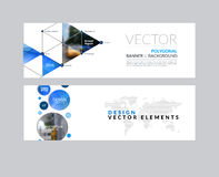 Vector set of modern horizontal website banners with rounds,  tr. Iangles, polygons for PR, business, tech, communication. Clean web headers design with overlay Stock Photos
