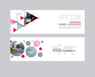 Vector set of modern horizontal website banners with rounds,  tr. Iangles, polygons for PR, business, tech, communication. Clean web headers design with overlay Stock Image