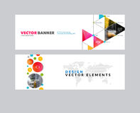 Vector set of modern horizontal website banners with rounds,  tr. Iangles, polygons for PR, business, tech, communication. Clean web headers design with overlay Royalty Free Stock Photography
