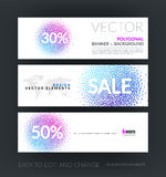 Vector set of modern horizontal website banners with sale beauti. Ful design element for template with moving particles, swirl explosion effect for shopping royalty free stock photos