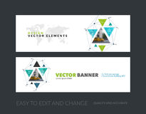 Vector set of modern horizontal website banners with triangular. Shapes, triangles, polygons, mesh for science, travel, network, communication.  Clean web Stock Photography
